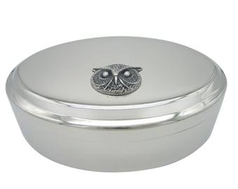 Silver Toned Owl Bird Head Pendant Oval Trinket Jewelry Box