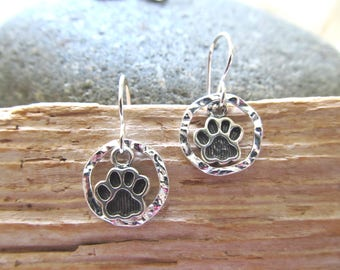 Sterling Silver Earrings - Sterling Silver Paw Prints Resting Within Sterling Silver Textured Circles