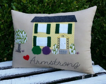 Home Sweet Home. Custom Family Housewarming Pillow with YOUR Home.