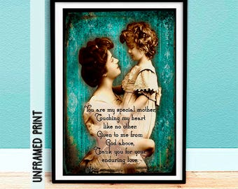 Gift Idea for Mom - Mom Art Print - Mother and Daughter Art Print - Collectable Keepsake - Special Mother Quote Art Print - Wall Hanging