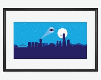 Bilbao Skyline print, Bilbao arte, Bilbao poster, Bilbao illustration, Bilbao Spain, Batman inspired art, Batman print, Batman poster, art