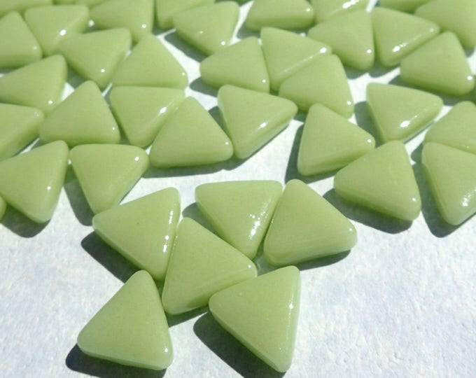 Small Green Triangle Glass Mosaic Tiles - 10mm - Opaque Glass Solid Color - 50g of Triangles in Light Green