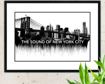 New York City sound,wall hanging,sound waves,sound wave art,soundwave,soundwave art,wave art decor,art print,wall decor,wave