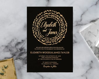Exquisite & Elegant Dotted Wedding Invitation, Black - IWF16060-GK-RG