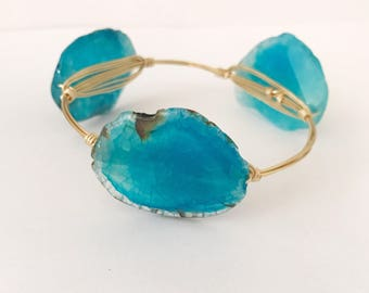 Blue waters agate bangle, wire wrapped bangle, wire bracelet, bourbon and bowties inspired, bourbon and boweties inspired