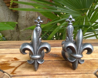 FRENCH Vintage Pair of Lily Flower  WINDOW SHUTTER Stopper in pewter