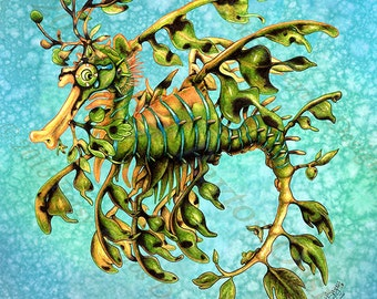 Art Tile, Leafy Sea Dragon. Original illustrated 8 x 8 sea creature, splash tile collectible, wall décor for home, bathroom or kitchen.