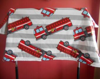 Firetruck Fleece Blanket--lap size