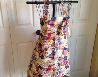 Patriotic, Memorial Day, Fourth of July Full butcher style Apron.  Women's small /medium.