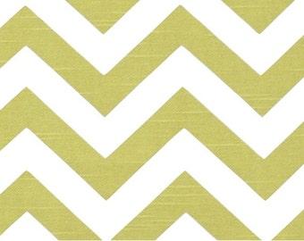 Green White Zig Zag - 1 Yard Artist Green Slub Chevron - Apple Green  White Zig Zag - Premier Print Decorator Fabric