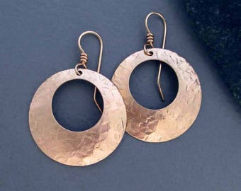 Hammered Bronze Hoop Earrings with 14k Pink Gold Filled Ear Wires Round Dangles: 8th Anniversary, 19th Anniversary, Bronze Anniversary Gift