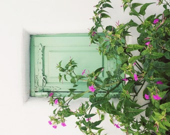 """Greece Photograph, Mint Green Wall Art, Entry Way Art, Pink Green Art, Wooden Shutter, Mint Green Decor  """"Mint WIndow"""""""