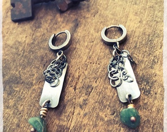 Raw Emerald Earrings, Silver Hoop Dangle Earrings, Genuine Emerald Raw Crystal Earrings, May Birthstone Rough Emerald Boho Jewelry Silver