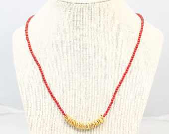 red beaded gold disc accent necklace - red necklace, metallic gold disc beads, beaded necklace, accent necklace, red and gold, red and black