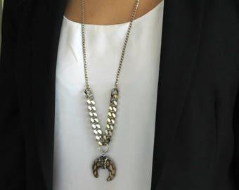 Upside Down Moon Necklace, Leopard Pendant Necklace, Crescent Moon Necklace ,Half Moon Necklace, Leopard Long Necklace