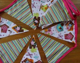 Birdhouse Bunting, Fabric bunting 3metres