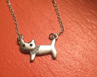 925 Sterling Silver Tiny Cat & Fish Necklace-Kitty Cat Jewelry-Adorable Cat Pendant-Cute Gift for Cat Ladies,Animal Lovers-Free Gift Box