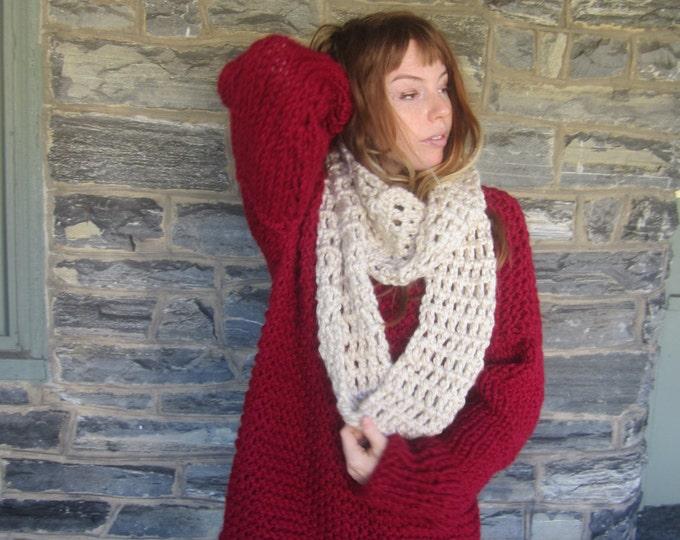 CHUNKY MESH INFINITY scarf, Crochet scarf, Infinity scarf, scarf, crochet infinity scarf, Long scarf, loop scarf, circle scarf, winter scarf
