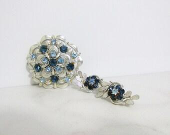 Vintage Brooch and Earrings Set: Coro Blue Flowers