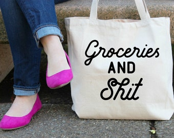 Groceries and Sh## XL Canvas Tote Bag