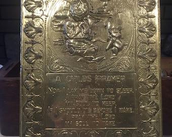 Brass Wall Plaque - A Child's Prayer Brass Wall Plaque - Brass Wall Hanging - Nursery Decor