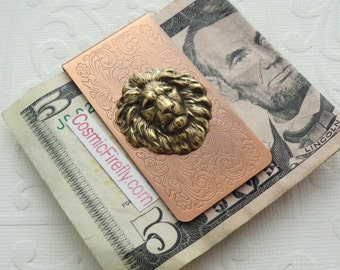 Lion Money Clip Copper Money Clip Brass Lion Head Steampunk Money Clip Victorian Money Clip Men's Gifts Father's Day Gifts For Men Leo Gifts