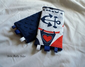Baby Carrier Teething Pads-Reversible Strap Cover- Ahoy Matey/Navy Minky Drool Pads