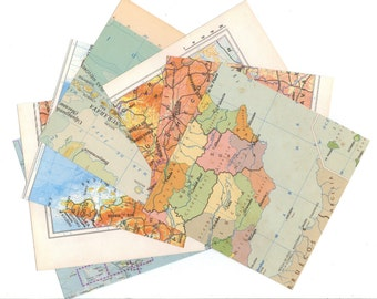 SALE VINTAGE 10 MAP Paper Scrap Pack - Clippings set