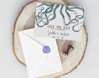 Kraken Wedding Invitation, Octopus, Nautical Wedding, Pirate Wedding, Ocean Invitation, Seaside Coastal Wedding, Beach Wedding Save the Date