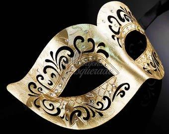 Mens Masquerade Mask, Gold Masquerade Mask, Masquerade Mask, Leather Mask, Black/Gold Mask, Mardi Gras Masquerade Mask, Masquerade