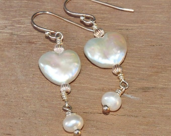Heart Freshwater Pearl Short Drop Earrings