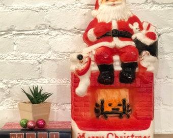 Vintage Santa & Fireplace Blow Mold