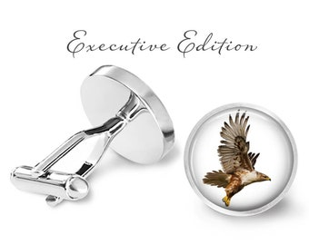 Cufflinks - Hawk Cufflinks - Red Hawk Cuff Links - Bird Cufflinks - Red Hawk Cufflink (Pair) Lifetime Guarantee (S0685)