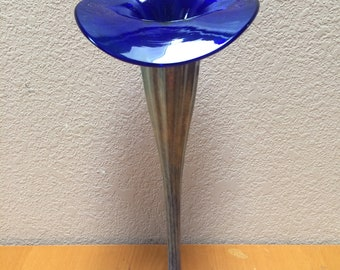 GLASS and SILVER VASE, Cala Lily Hand Blown Glass and Silver Vase, Silver and Hand Blown Glass Flower Vase