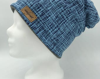 Blue Stripes beanie (inside fleece)