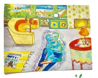2070s Raum Postkarte