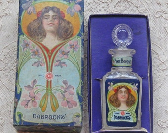 Sale  -  1910's to 20's Art Nouveau Dabrooks Perfume Bottle and Box  -  NEW SALE PRICE