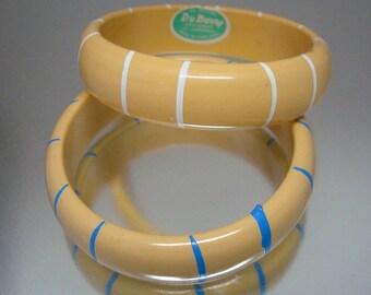 Paar 1950 Vintage Armreif Armbänder gelben Streifen Vintage