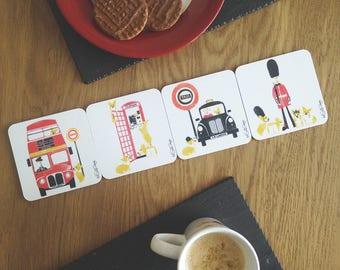 Corgi Gift / Drink Coasters / Dog Coasters / London Coasters / Puppy Coasters / Cork Coasters / Gifts For Travelers / Gift For Dog Lovers