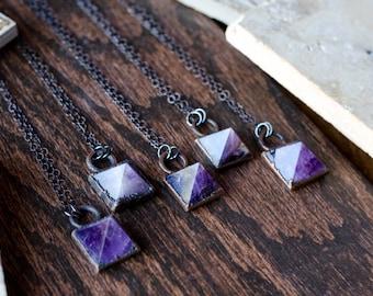 Amethyst Pyramid Necklace