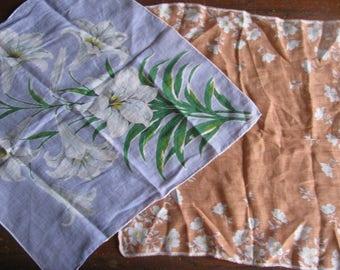 Sale!!!Two Vintage Printed Handkerchiefs 1950's Floral Cotton Fabric