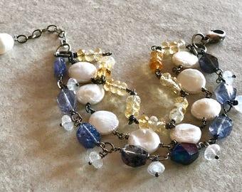 Citrine, Pearl, Iolite Multistrand Bracelet, Moonstone and Quartz Bracelet, Pearl Chain Bracelet, 3 Strand Bracelet, Sterling Silver Jewelry