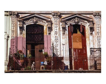 Dog on Balcony, Old Havana, Cuba Signed Art Print / Cuban Architecture / Havana Colour Dog Print