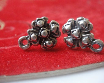 2 pc. 925 sterling silver oxidized flower post earrings, post earrings, flower post earrings, earrings