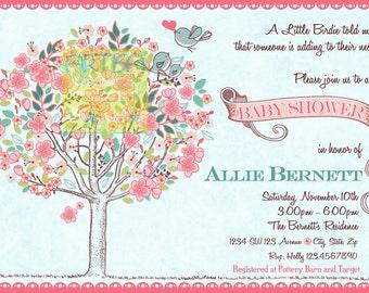 Birds Baby Shower Invitation Spring Baby Shower Invitation