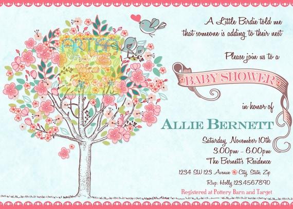 Tree Birds Baby Shower Invitation Bird and Tree Neutral Baby