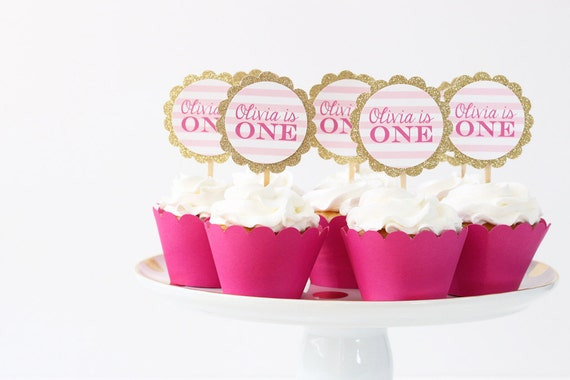 Girls First Birthday Party Cupcake Toppers 1st Birthday Cake Topper