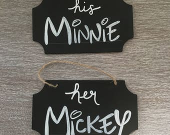 Her Mickey His Minnie Chalkboard Signs