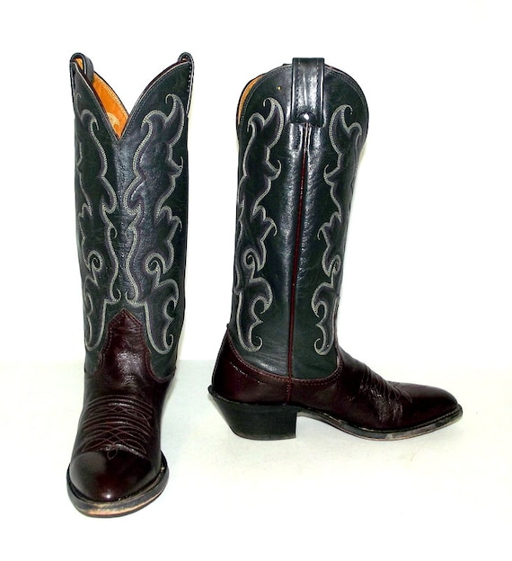 wine burgundy grey 5 cowboy 4 boots C 5 womens Nocona size size tone steel and or brand Two xt4qIw