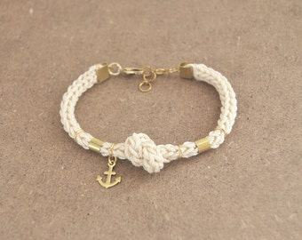 Anchor bracelet with knot, knit rope bracelet with anchor charm, cream bracelet from cotton, nautical bracelet